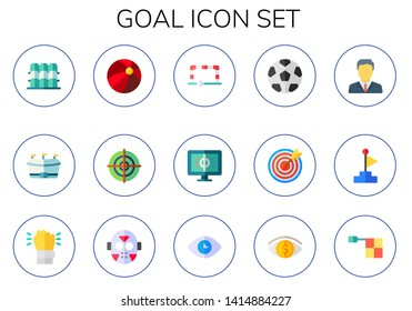 goal icon set. 15 flat goal icons.  Collection Of - grandstand, football, ball, dartboard, soccer ball, dart board, manager, Goal, determination, hockey, vision, offside