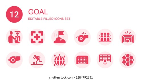 goal icon set. Collection of 12 filled goal icons included Proud, Target, Goal, Whistle, Grandstand, Football, Ball