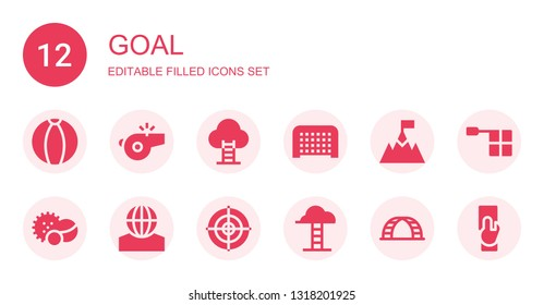 goal icon set. Collection of 12 filled goal icons included Ball, Whistle, Goal, Balls, Dartboard, Goals, Ladder, Offside, Referee