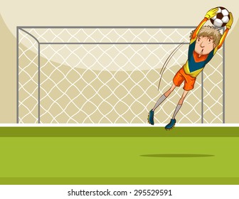 Goal keeper catching a ball in front of the goal