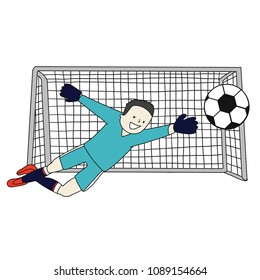 Goal Keeper Japan Isolated vector of a footballer in white background. Soccer ball isolated. Bleu uniform