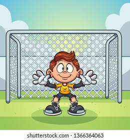 Goal keeper kid with soccer goal  background clip art. Vector illustration with simple gradients. Some elements on separate layers.