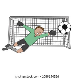 Goal Keeper Poland Isolated vector of a footballer in white background. Soccer ball isolated. Green uniform