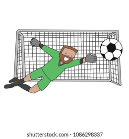 Goal Keeper Switzerland Isolated vector of a footballer in white background. Soccer ball isolated. Green uniform.