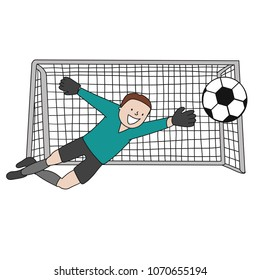 Goal Keeper wiht the uniform of Spain soccer team isolated vector of a footballer with soccer ball in white background.
