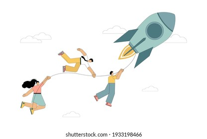 Goal movement concept. A team of people is holding on to the thread from a flying rocket. Vector isolated illustration on white background.