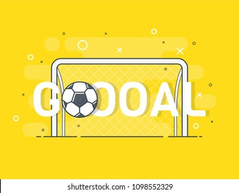 Goal sign and football / soccer ball. Trendy flat vector on yellow background. Vector Illustration.