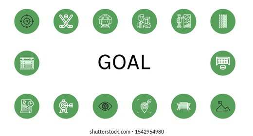 goal simple icons set. Contains such icons as Focus, Hockey stick, Hockey player, Football player, Target, Sticks, Time management, Vision, can be used for web, mobile and logo