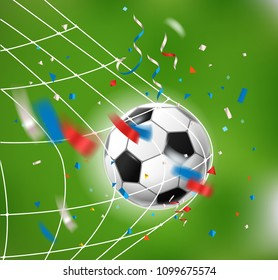Goal. Soccer ball and confetti. World competition concept