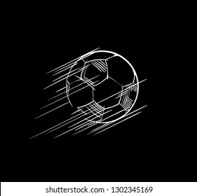 Goal, Soccer ball flying Icon. European football logo. Sports game image concept for the championship banner, sport bar, broadcast. Lines, strokes drawing sketch. Element for the Scores table. Vector