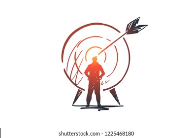 Goal, success, target, aim, arrow concept. Hand drawn person and target with arrow concept sketch. Isolated vector illustration.