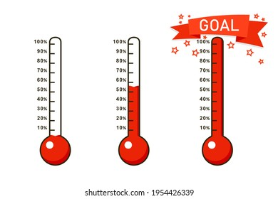 Goal thermometer icon set. Clipart image isolated on white background. Empty, half, full percentage thermometers.