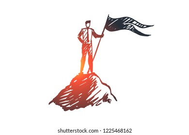 Goal, top, leadership, achievement, winner concept. Hand drawn successful businessman on top of mountain concept sketch. Isolated vector illustration.