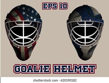 Goalie helmet for the game of ice hockey.