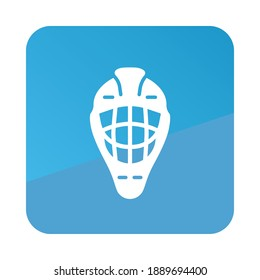 Goalie helmet vector icon. Winter sign. Graph symbol for travel and tourism web site and apps design, logo, app, UI