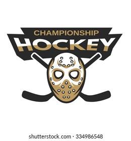 Goalie mask hockey badge, logo, emblem.