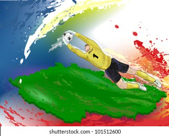 goalie in yellow is catching ball in air