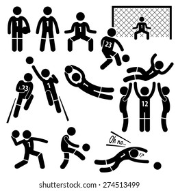 Goalkeeper Actions Football Soccer Stick Figure Pictogram Icons