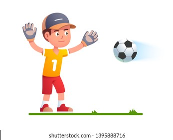 Goalkeeper boy kid trying to catch soccer football standing in defense pose spreading hands in goalie gloves. Child playing soccer game guarding catching flying ball flat vector character illustration