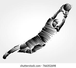 goalkeeper flying to the ball made of black brushstrokes on light background