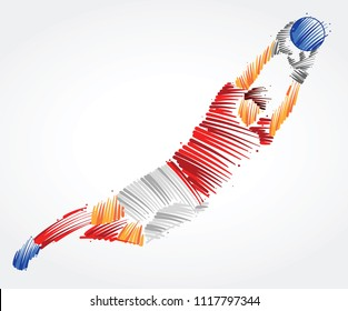 Goalkeeper flying to the ball made of colorful brushstrokes on light background