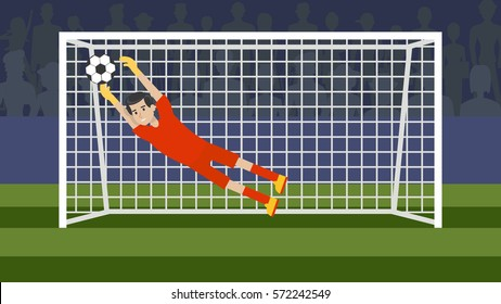 Goalkeeper in the gate on the white background. Soccer game. Athletic young champion.