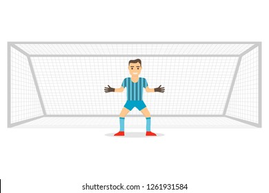 Goalkeeper at the gate. Goalkeeper stands on the gate isolated on white background. Realistic gates with goalkeeper. Vector illustration.