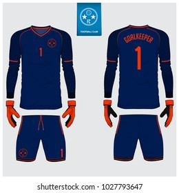 Goalkeeper jersey or soccer kit, long sleeve, goalkeeper glove template design. Orange, blue sport t-shirt mock up. Front and back view football uniform. Flat football logo label. Vector Illustration.