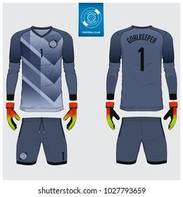 Goalkeeper jersey or soccer kit, long sleeve, goalkeeper glove template design. Sport t-shirt mock up. Front and back view football uniform. Flat football logo label. Vector Illustration.