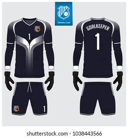 Goalkeeper jersey or soccer kit, long sleeve jersey, goalkeeper glove template design. Sport t-shirt mock up. Front and back view football uniform. Flat football logo label. Vector Illustration.