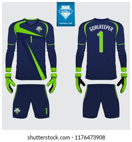 Goalkeeper jersey or soccer kit, long sleeve jersey, goalkeeper glove template design. Blue and green sport t-shirt mock up. Front and back view football uniform. Flat football logo label. Vector.