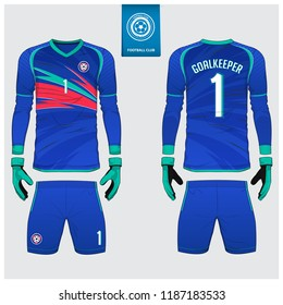 Goalkeeper jersey or soccer kit, long sleeve jersey, goalkeeper glove template design. Blue gradient  sport t-shirt mock up. Front and back view football uniform. Flat football logo label. Vector.