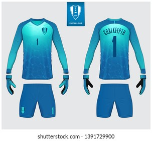 Goalkeeper jersey or soccer kit, long sleeve jersey, goalkeeper glove mockup template design. Sport t-shirt mock up. Front and back view soccer uniform. Flat football logo label. Vector Illustration.