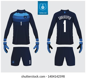 Goalkeeper jersey or soccer kit mockup. Goalkeeper glove and long sleeve jersey  template design. Sport t-shirt mock up. Front and back view soccer uniform. Flat football logo. Vector Illustrations.