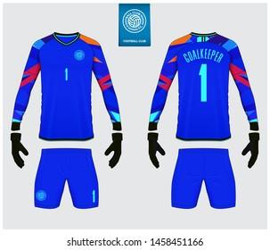 Goalkeeper jersey or soccer kit mockup. Goalkeeper glove and long sleeve jersey  template design. Sport t-shirt mock up in front view, back view. Flat football logo design. Vector Illustration.