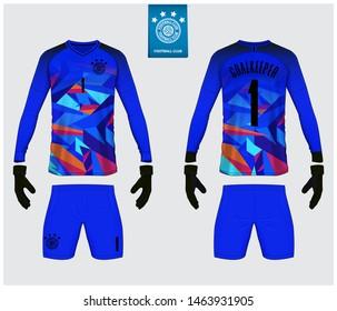 Goalkeeper jersey, soccer kit mockup. Goalkeeper glove and long sleeve jersey  template design. Sport t-shirt template. Front and back view soccer uniform. Football logo design. Vector Illustration