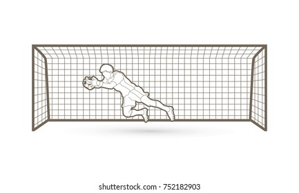 Goalkeeper jumping action, catches the ball outline graphic vector.