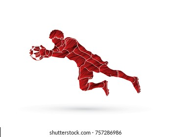 Goalkeeper jumping action, catches the ball designed using grunge brush graphic vector.
