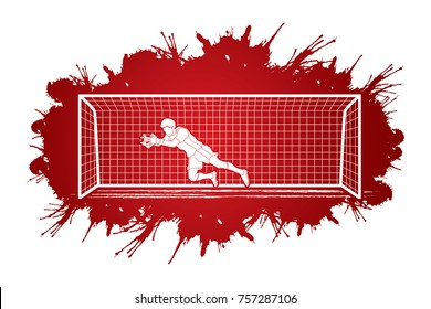 Goalkeeper jumping action, catches the ball designed on splatter ink background graphic vector.