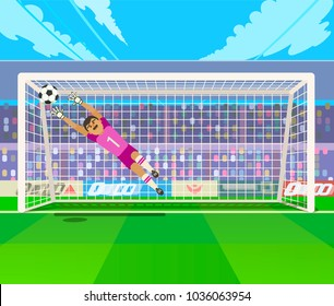 Goalkeeper jumping for ball. Vector illustration of goalkeeper jumping for ball while playing soccer.