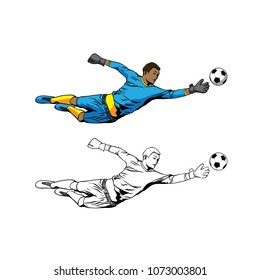 goalkeeper jumping to catch ball illustration