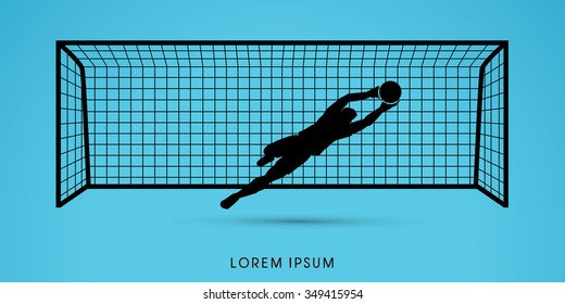 Goalkeeper jumping, catches the ball graphic vector.