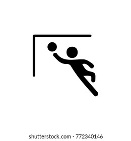 Goalkeeper jumps to ball icon. Silhouette of an athlete icon. Sportsman element icon. Premium quality graphic design. Signs, outline symbols collection icon for websites, web design white background