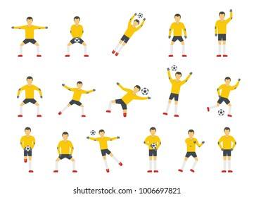 Goalkeeper man icons set. Flat illustration of 15 goalkeeper man vector icons for web