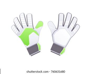 Goalkeeper protection gloves. Vector illustration. Soccer goalkeepers gloves isolated on white background