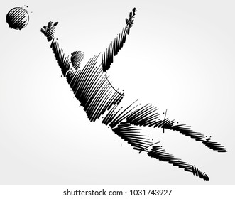 goalkeeper trying to catch the ball made of black brushstrokes on light background