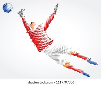 Goalkeeper trying to catch the ball made of colorful brushstrokes on light background