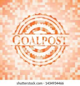 Goalpost abstract emblem, orange mosaic background