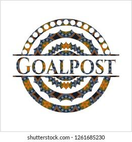 Goalpost arabic emblem background. Arabesque decoration.