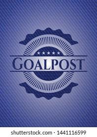 Goalpost badge with denim background. Vector Illustration. Detailed.